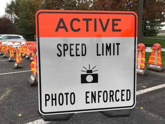 Watch for this sign that will indicate that speed cameras are being used in an active work zone.