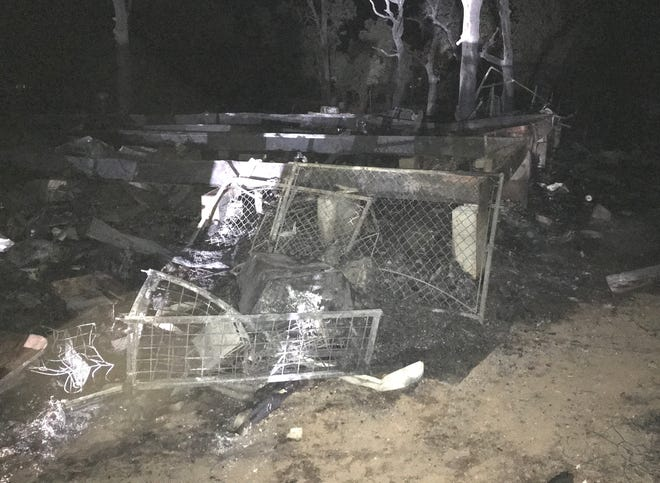 An early morning fire Wednesday, Oct. 30, 2019, burned a structure, two outbuildings and about 4 acres of vegetation in the Palo Cedro area.
