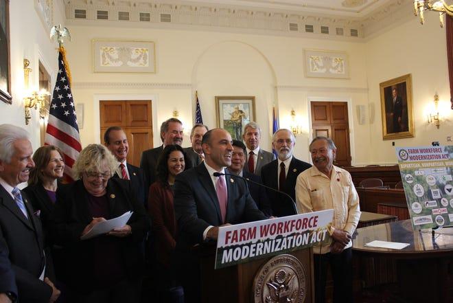 Congressperson Jimmy Panetta announces the Farm Workforce Modernization Act. Oct. 30, 2019.