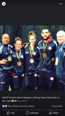 Charles Baines, far left, poses with other Team USA members at the WAKO World Championships held Oct. 19-27, 2019 in Sarajevo.