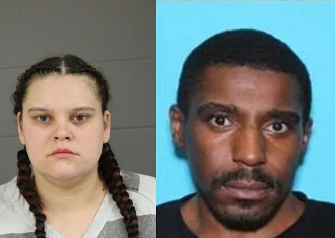Police are searching for Krista Marie Kruckenberg (left), 27, and Max Bolden (right), 36, both of Sioux Falls, in connection to a homicide in downtown Sioux Falls this weekend.