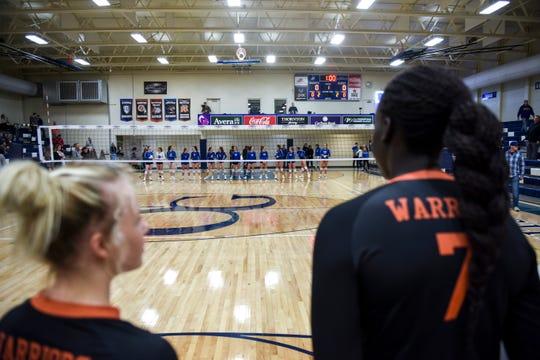 Washington plays O'Gorman in a match on Tuesday, Oct. 29, 2019 at O'Gorman High School.