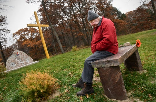 Virgil Brisk pauses while talking about his son Terry at a memorial in his honor Wednesday, Oct. 30, 2019, on the family land near Little Falls. Terry Brisk was found dead Nov. 7, 2016, on the land. Investigators are still searching for the person who killed him.
