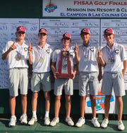 Chiles' boys golf team captured a Class 3A state championship, its first, on Wednesday, Oct. 30, 2019 at Mission Inn Resort & Club in Howey-in-the-Hills. Junior Patrick McCann shot 5-under over two days to finish in a tie for third overall as the Timberwolves won by eight strokes. From left: Parker Bell, Jake Springer, Trey Buehler, Aiden Ash, Patrick McCann.
