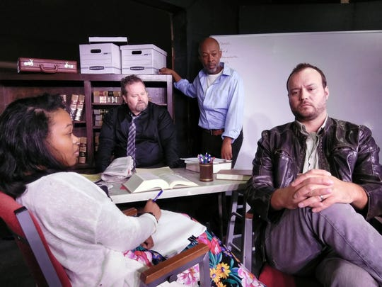 "Rehnesha Santos, John Stevenson, Herb Donaldson, and Collin Johnson star in ""Race"" by David Mamet, running Nov. 1-9 at Palaver Tree Theater Company in Crawfordville."