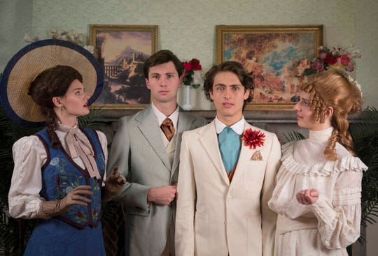 Actors in order of appearance from left to right: Jena Brooks, David Benne, Nick Clark, and Paige Pedersen.