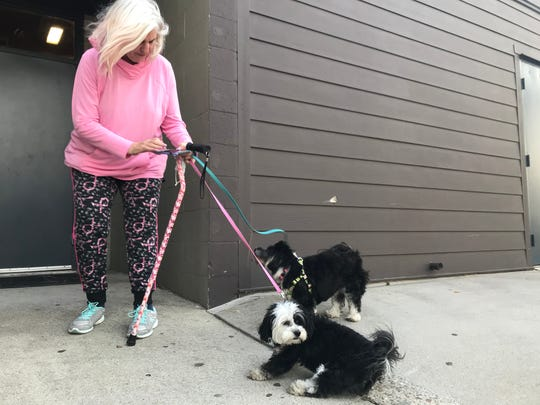 Simi Valley resident Cat Figel and her two dogs, one of which is a service dog, arrived at the evacuation center for the Easy Fire Wednesday morning.