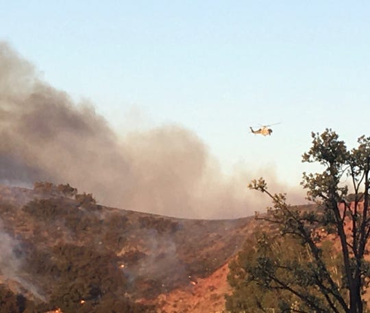 The Easy Fire burns near Simi Valley, California, early Wednesday, Oct. 30, 2019.