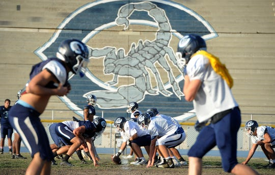 The Camarillo High football team prepares Tuesday for its huge matchup with Grace Brethren on Friday night.