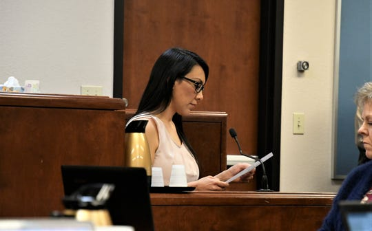 Erika Sandoval reads a letter she wrote to the Tulare County District Attorney's Office in 2010.