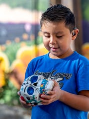 Eli Rivera, 6, talks Wednesday, October 30, 2019 about the skull he painted and his plans to attend the Dia De Los Muertos (Day of the Dead) celebration at the Visalia Public Cemetery on Saturday, Nov. 2. The Tulare County League of Mexican American Women host the free event. It starts at noon with a blessing performed by Aztec dancers, followed by a variety of folkloric dancers throughout the day. Altars, craft booths and food vendors will be on site.