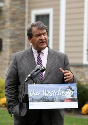 County Executive George Latimer announces that he will propose a 2020 budget that will reduce the county property tax levy for the first time since 2011, Oct. 30, 2019 at a home in Greenburgh.