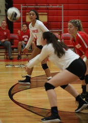 Tappan Zee's Sam Rivera (6) watches as her teammate Madison Maggiore (18) returns the ball during Section 1 Class A Quarterfinals girls volleyball game at Tappan Zee High School in Orangeburg Oct. 29, 2019. Lakeland defeats Tappan Zee.
