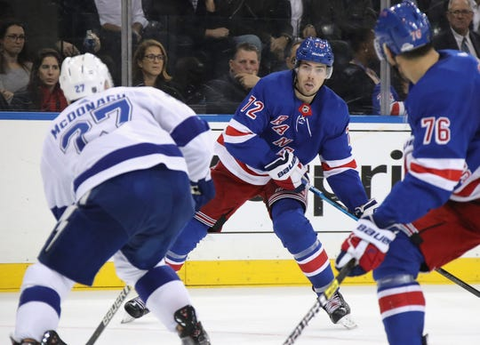 Filip Chytil #72 of the New York Rangers takes the shot against the Tampa Bay Lightning during the second period at Madison Square Garden on October 29, 2019 in New York City.