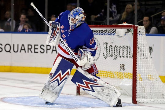 Oct 29, 2019; New York, NY, USA; New York Rangers goaltender Alexandar Georgiev (40) makes a save during the first period against the Tampa Bay Lightning at Madison Square Garden.