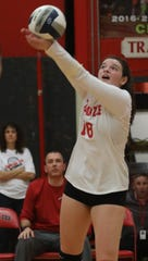 Tappan Zee's Madison Maggiore (18) looks to set the ball during the Section 1 Class A quarterfinals against Lakeland.