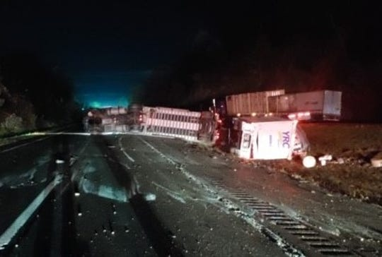 A tractor-trailer overturned on Interstate 84 in East Fishkill on Oct. 30, 2019.