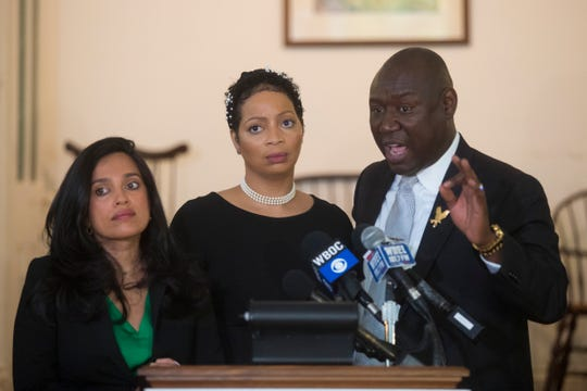 """Morgan & Morgan attorney Angeli Murthy, left, Delaware Department of Insurance employee Fleur McKendell, center, and civil rights and personal injury attorney Ben Crump hold a press conference about a lawsuit they are filing against Delaware Insurance Commissioner Trinidad Navarro for reasons of """"workplace racial and sexual discrimination, harassment and retaliation"""" against McKendell Wednesday afternoon at the Dover Century Club."""
