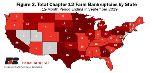 Total bankruptcies filed by state vary significantly, from no bankruptcies in some states to more than 20 filings in others. Wisconsin led the nation with 48 filings.