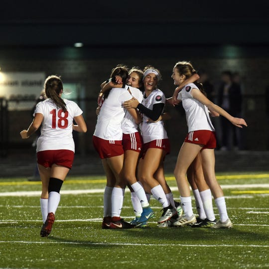 Rosecrans players celebrate after earning a 1-0 win against New Middletown Springfield in a Division III regional semifinal on Tuesday night at Canton Central Catholic.