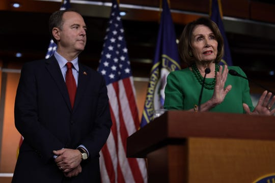 House Speaker Nancy Pelosi and House Intelligence Committee Chairman Adam Schiff at the Capitol in Washington, D.C., on Oct. 15, 2019.