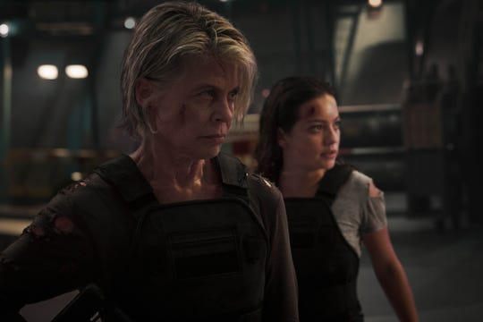 "Sarah Connor (Linda Hamilton, left) shows her protective side with Dani (Natalia Reyes) in ""Terminator: Dark Fate."""