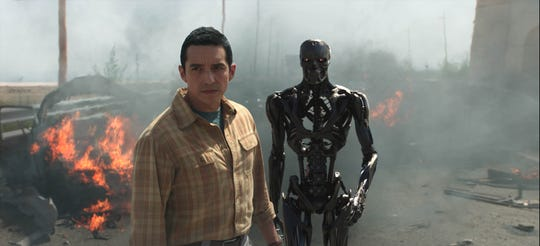 Gabriel Luna is the new Rev 9 Terminator, which can separate its shapeshifting form from its metal exoskeleton.