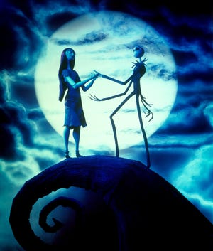 (L-R)  Sally (voiced by Catherine O'Hara), Jack Skellington (voiced by Chris Sarandon) in a scene from the motion picture The Nightmare Before Christmas. --- DATE TAKEN: 10/18/2006  No Byline   Disney        HO      - handout   ORG XMIT: ZX53062
