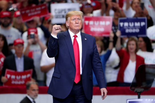 """President Donald Trump speaks during a """"Keep America Great"""" Campaign Rally  on October 17, 2019 in Dallas, Texas."""