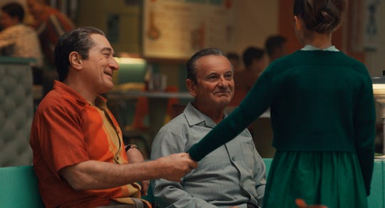 """Oscar winners Robert De Niro, left, and Joe Pesci are back in the awards conversation playing mobsters in """"The Irishman."""""""