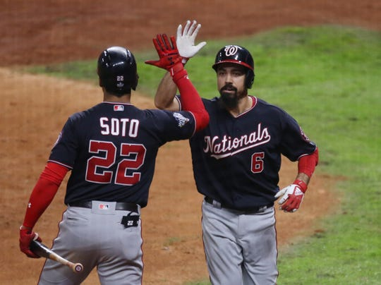 Nationals' Anthony Rendon hits a two-run homer in the seventh inning.