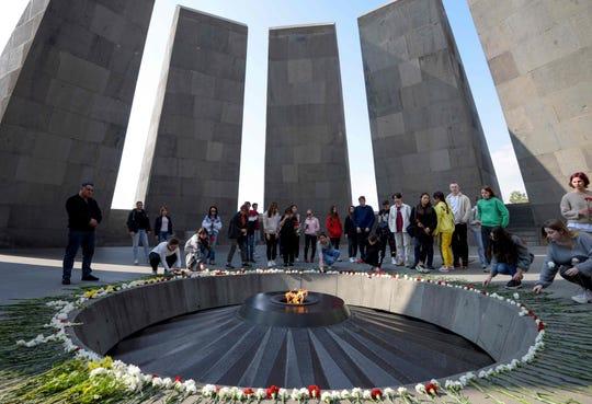 People visit the Tsitsernakaberd Armenian Genocide Memorial in Yerevan on October 30, 2019.