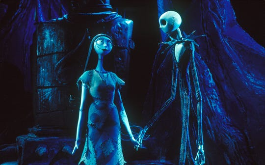 "Sally (left, voiced by Catherine O'Hara) and Jack Skellington (Chris Sarandon) in a scene from ""The Nightmare Before Christmas."""