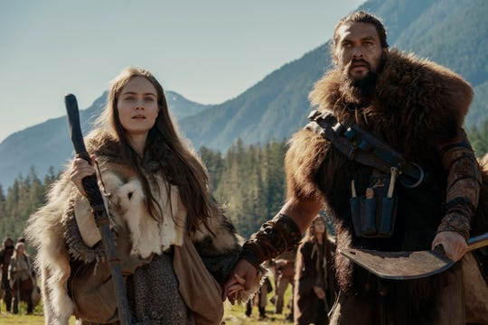 "Jason Momoa and Hera Hilmar in ""See,"""