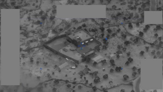 A photograph supplied by the Division of Protection reveals Abu Bakr Al-Baghdadi's compound forward of the raid that ended in his death.