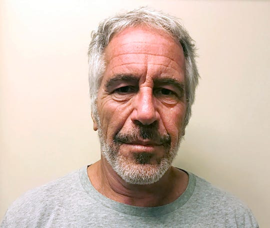 "FILE - This March 28, 2017, file photo, provided by the New York State Sex Offender Registry, shows Jeffrey Epstein. Dr. Michael Baden, a pathologist hired by Jeffrey Epstein's brother, says he believes the financier's death at a New York City jail was a murder, not suicide. Baden told Fox News on Tuesday, Oct. 29, 2019, that some injuries found on the 66-year-old Epstein's body ""are extremely unusual in suicidal hangings"" and more consistent with ""homicidal strangulation."" (New York State Sex Offender Registry via AP, File)"