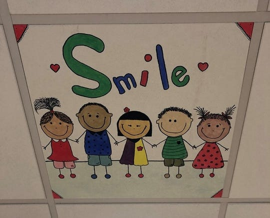 One of the ceiling tiles Hannah Donner placed at Jersey Shore University Medical Center's K. Hovnanian Children's Hospital.