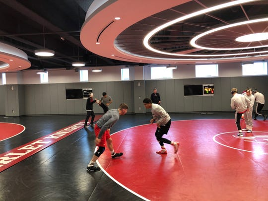 Freshman 133-pounder Sammy Alvarez (right), shown working out with 2019 NCAA 149-pound champion Anthony Ashnault on Thursday, knows he made the right decision to transfer to Rutgers from North Carolina State last summer.