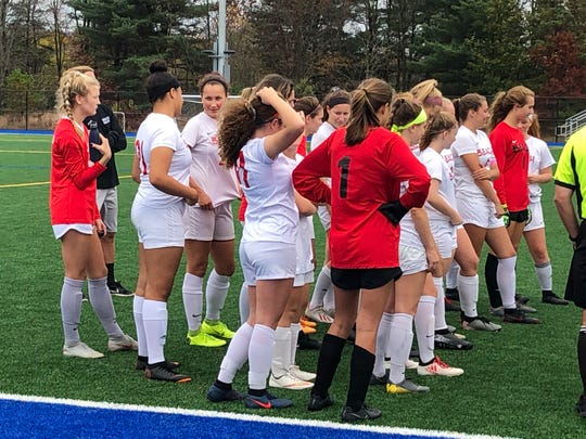 The Point Beach girls soccer team listens intently to the game officials for instructions prior to the Thursday's NJSIAA game vs Spotswood at the Sayreville Sports Complex on Oct. 31, 2019.