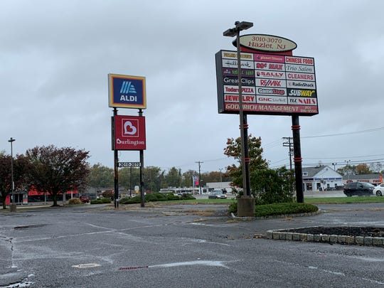 The sign for the Hazlet Town Center in Hazlet, showing new stores Burlington and Aldi. Oct. 31, 2019