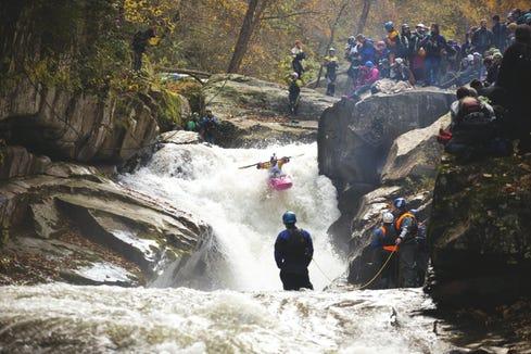 Dane Jackson paddles Gorilla Falls at The Green Race in Hendersonville, North Carolna, on Nov. 1, 2014.