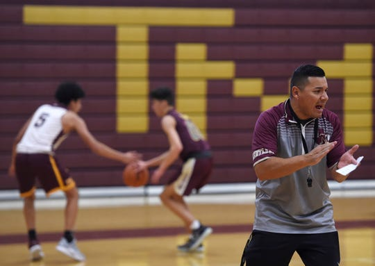 Tres Garcia coaches basketball practice, Thursday, Oct. 31, 2019, at Tuloso-Midway High School. Garcia is the new head boys basketball coach for the team.
