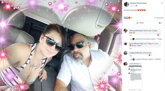 A screenshot shows a photo of Vanessa Pecina and Jose Deluna in July 2019. Pecina was reported missing in August 2019 and found dead near Petronila in September 2019. Deluna was arrested on suspicion of her murder.