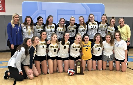 Notre Dame celebrates with its regional championship trophy as Notre Dame defeated St. Henry 3-0 in the KHSAA Ninth Region volleyball championship match October 30, 2019 at Boone County High School, Florence KY.