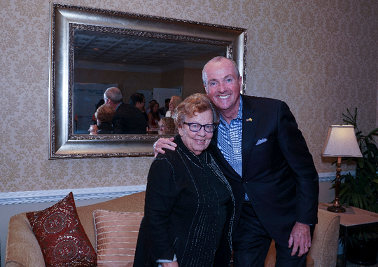 """Senator Loretta Weinberg with Governor Phil Murphy at the renaming of PROUD Family Health in memory of transgender activist Barbra """"Babs"""" Casbar Siperstein on Oct. 30. Weinberg was presented with the Babs Siperstein Inspiring Progress Award."""
