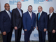 Zak Karim, board member, Garden State Equality, Christian Fuscarino, executive director, Garden State Equality, Governor Phil Murphy, Barry Ostrowsky, president and CEO, RWJBarnabas Health, Tony Cava, president and CEO, Robert Wood Johnson University Hospital Somerset attended the renaming of the Robert Wood Johnson University Hospital Somerset  PROUD Family Health in memory of Babs Siperstein on Oct. 30. Garden State Equality was presented with the Babs Siperstein Advocacy Award.