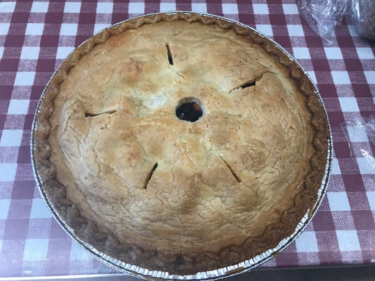 As always, Homestead Farm Market in Lambertville is ready for fall and the holidays - otherwise known as the season of the pie. Here, peachberry pie is ready to go.