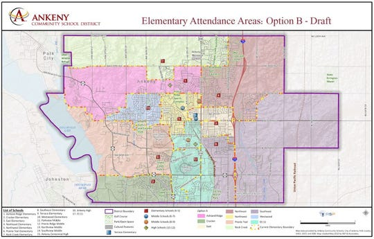 This map shows the new boundaries that the Ankeny School District's board of directors approved Wednesday.