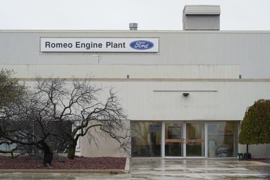 An entrance to the Ford Romeo Engine Plant in Romeo on Thursday, October 31, 2019.