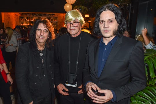 Alice Cooper (left), Kirk Gibson (as Andy Warhol) and Jack White attend the Kirk Gibson Foundation's Fundraiser For Parkinson's hosted by Shinola Hotel on October 30, 2019, in Detroit.